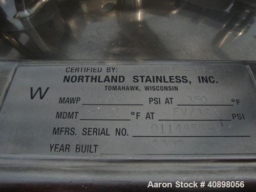"""Used- Northland Stainless 48"""" Nutsche Filter. Stainless steel construction, 48"""" diameter x 24"""" deep chamber, rated 36 psi an..."""