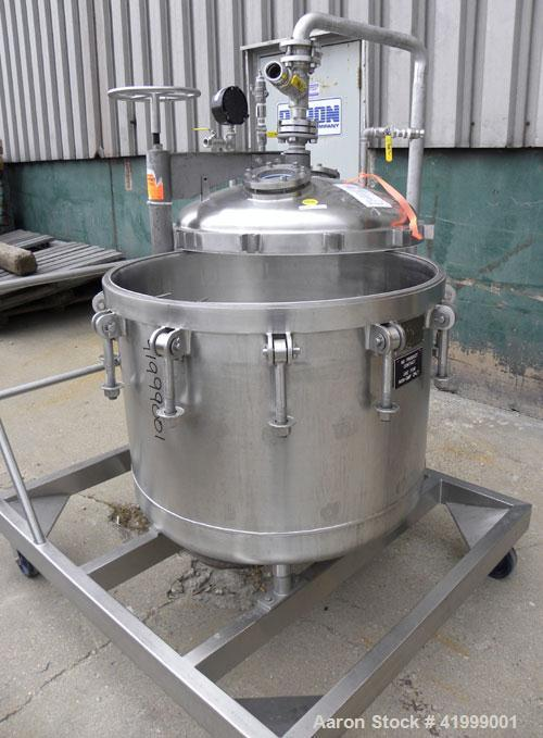 """Used- Chicago Boiler Company Manual Nutsche Style Filter, approximately 0.5 square meter, 316 stainless steel, vertical. 36""""..."""