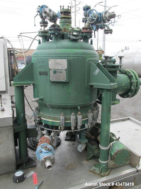 Used- 3V Cogeim Glass Lined Nutsche Filter, 0.38 Square Meter, Type FPP PILOTA SMALTATO. Approximately 700 mm inner vessel d...