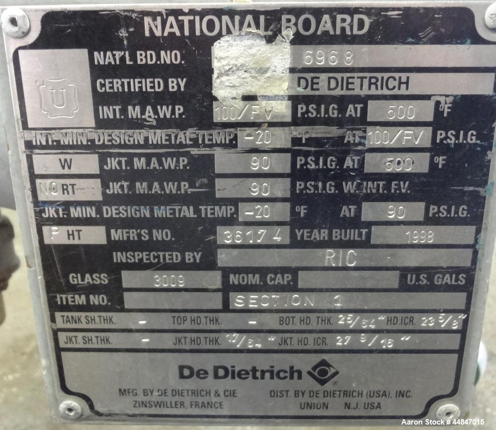 """Used- De Dietrich Glass Lined Pressure Nutsche Filter, Approximate 0.28 Square Meter, 3009 Blue Glass. Approximate 23-5/8"""" x..."""