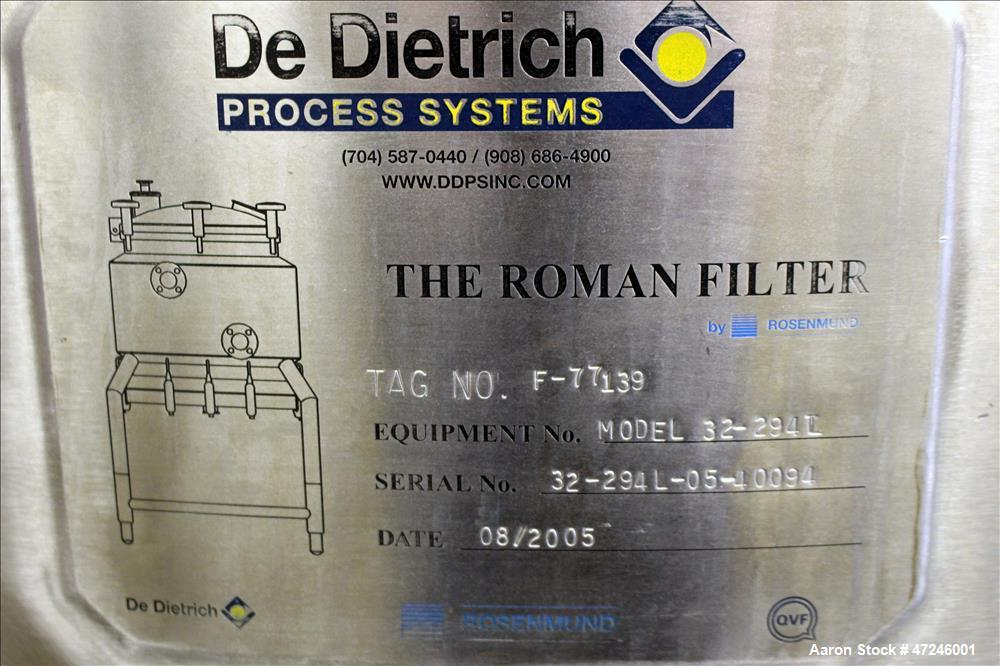 Used- De Dietrich Rosenmund Nutsche Filter, Model 32-294L.
