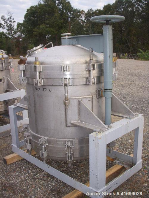 Used- Durco Nutsche Style Single Leaf Pressure Filter, approximately 0.6 square meter, 316L stainless steel. 36'' diameter x...