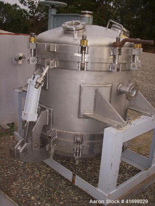 """Used- Durco Nutsche Style Single Leaf Pressure Filter, approximately 0.6 square meter, 316L stainless steel. 36"""" diameter x ..."""
