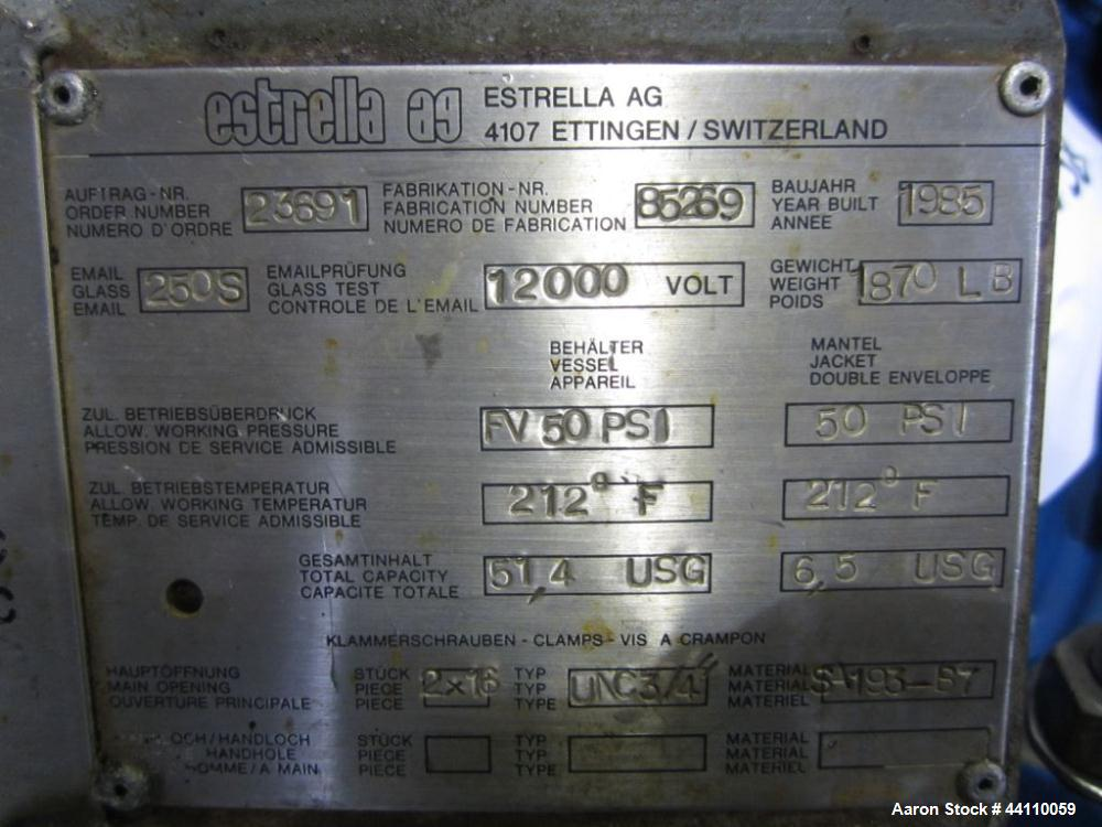 "Used- Estrella / Bertrams AG Basel Glass Lined Nutsche Filter 24"" Diameter (51.4 Gallons, 6.5 Gallons, rated 50/FV at 212 F ..."