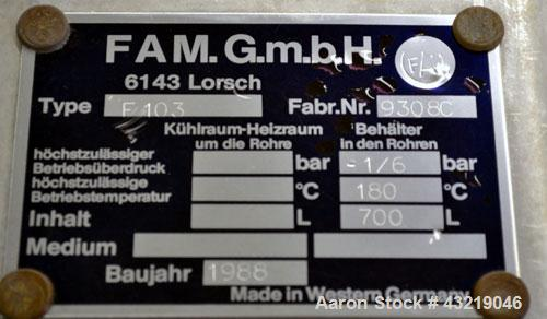 "Used- FAM. GMBH Nutsche Filter, Approximate 1 Square Meter, Type F103, 316 Stainless Steel. 46"" (1200 mm) diameter perforate..."