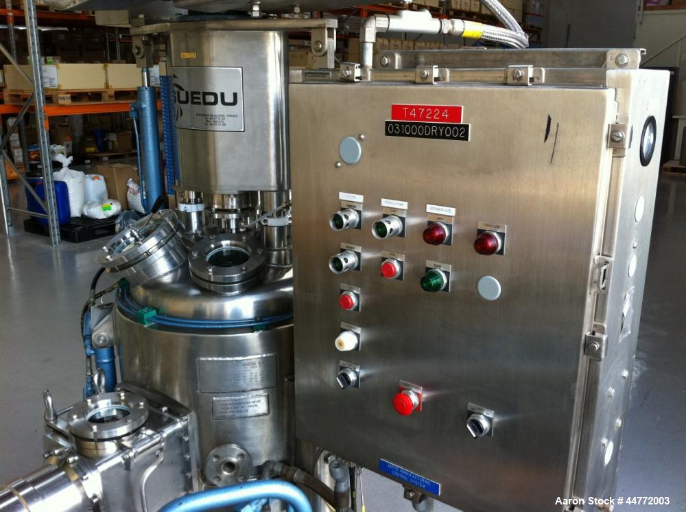 Used-Guedu Filter Dryer with jacketed tank.  Hastelloy interior and stainless steel agitator shaft.  Jacket pressure FV-45 p...