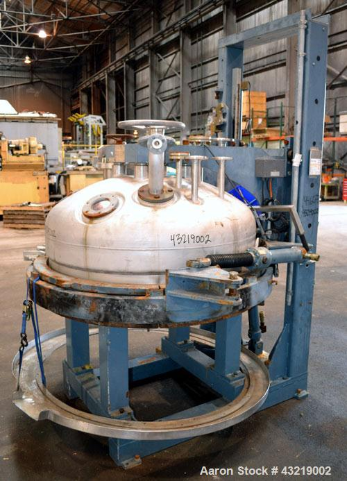 "Used- Hanag AG Pressure Nutsche Filter, 1 Square Meter, 173 Gallon, 655 Liter. 316L Stainless steel. Approximate 48"" diamete..."