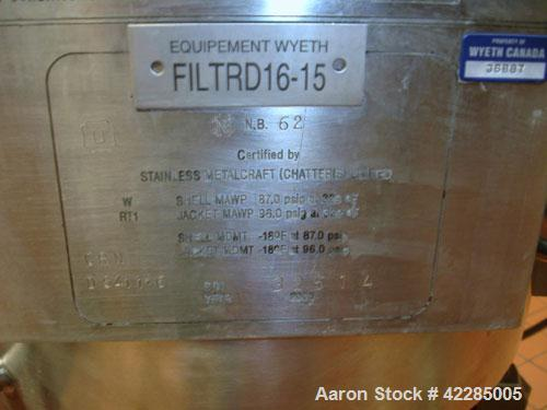 Used- PSL/Powder Systems LTD Nutsche Filter Dryer, 0.125 square meter, Hastelloy C22. Internal rated 87 psi and full vacuum ...