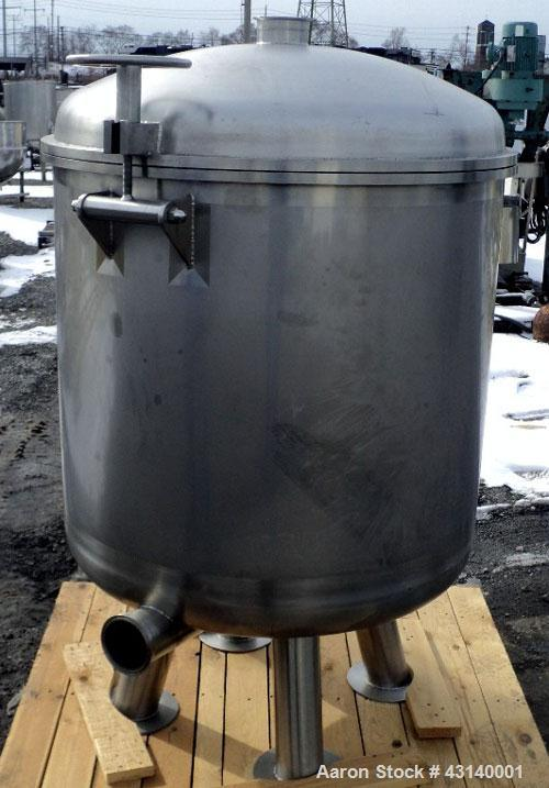 """Used- Buchner Nutsche Style Filter, Approximate 0.6 Square Meter, 304 Stainless Steel. 36"""" Diameter x 29"""" deep, hinged dish ..."""