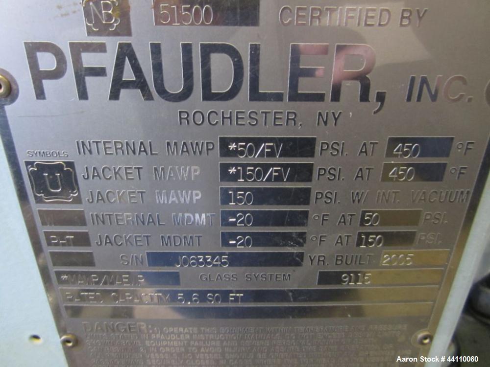 Used- Pfaulder Glass Lined Nutsche Filter, 5.6 Sq. Ft. Built 2005, S # J063345, NB # 51500, rated 50/fv @ 450 internal, 150/...