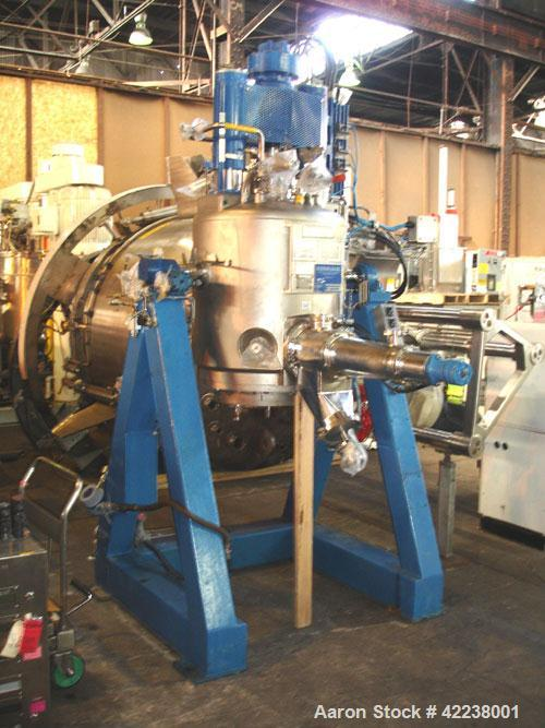 "Used- Rosenmund Agitated Nutsche Filter, 0.3 square meter, 316L stainless steel. 185 liter capacity, 24"" diameter bottom pla..."