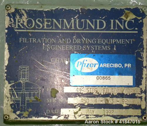 "Used- Rosenmund Filter Dryer, 4 Square Meter, Model 4MS Side Discharge, 316L Stainless Steel. Approximately 96"" diameter x 3..."