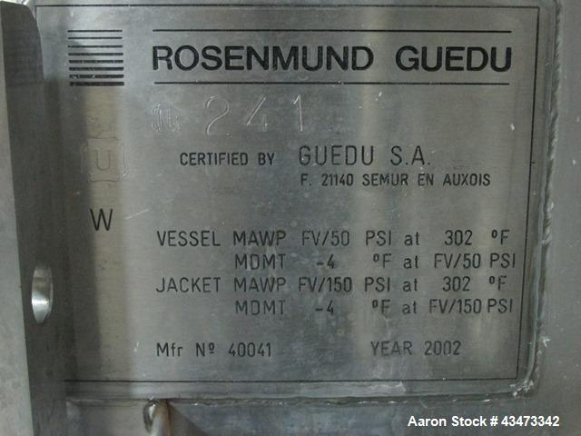Used- Rosenmund Geudu Nutsche Filter Dryer, 0.3 Square Meter, 316L Stainless Steel. Internal rated 50 psi & Full Vacuum at 3...