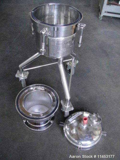 Used-Sparkler Nutsche Type Filter, 316 Stainless Steel, Model 8-6.  Rated 60 psi @ 350 deg F internal, removable basket, on ...