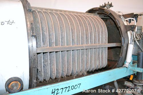 Used- Duriron Dry Cake Horizontal Pressure Leaf Filter, Type DHC, Model 48DHC225, Carbon Steel. 225 Square feet (20.9 square...