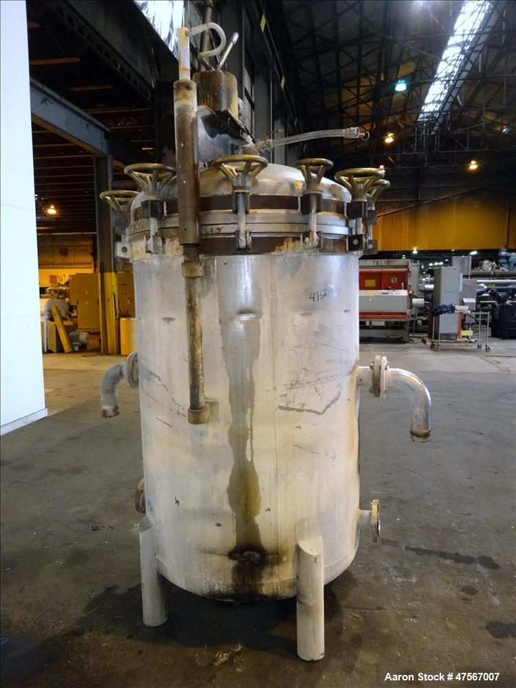Used- Duriron Durco Style Wet Cake Discharge Vertical Tank & Vertical Filter, Type V, 316 Stainless Steel. Approximate 325 s...
