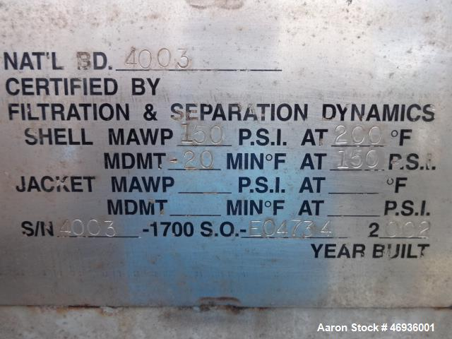 """Used-Filtration & Separation Dynamics Pressure Filter.  Model 60DHC506. """"Dry Cake Discharge""""  316 Stainless steel shell and ..."""