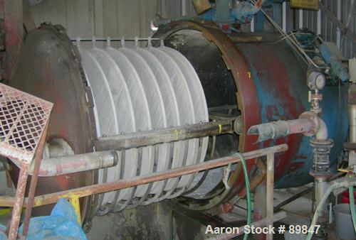 """USED: Industrial Filter & Pump Mfg Co pressure leaf filter, type 122.1C31, series 60-5-8. Horizontal carbon steel vessel 60""""..."""