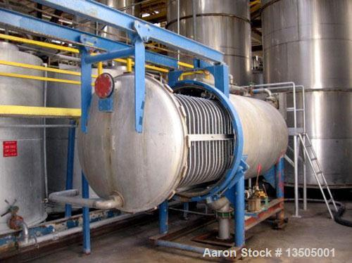 Unused-Used: Industrial Filter, Pressure Leaf Filter. 500 square feet, T304 stainless steel, horizontal tank, vertical leave...