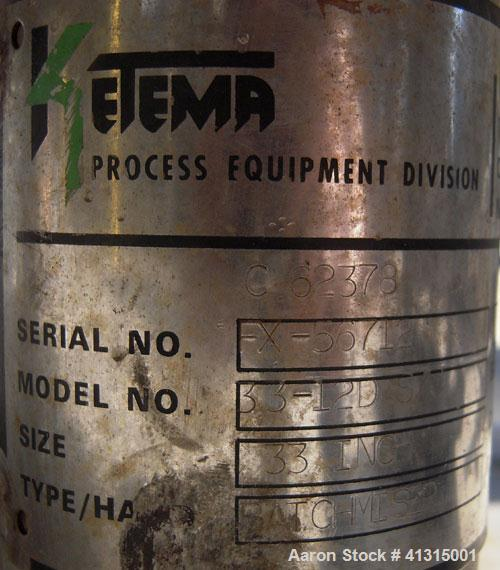 Used- Ketema Horizontal Plate Filter, Model 33-12D S/J, 316 Stainless Steel. 74.44 square feet filter area, 10.08 cubic feet...