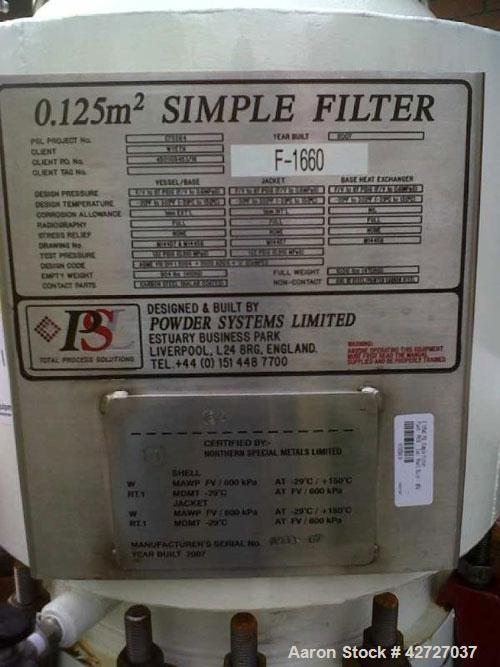 Used- Carbon Steel Powder Systems LTD Pressure Nutsche Filter