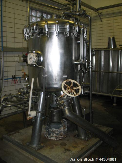 Used-Schenk ZHF S10 Centrifugal Discharge Filter.  Filtration area 107 square feet (10 square meters), capacity 163 gallons ...