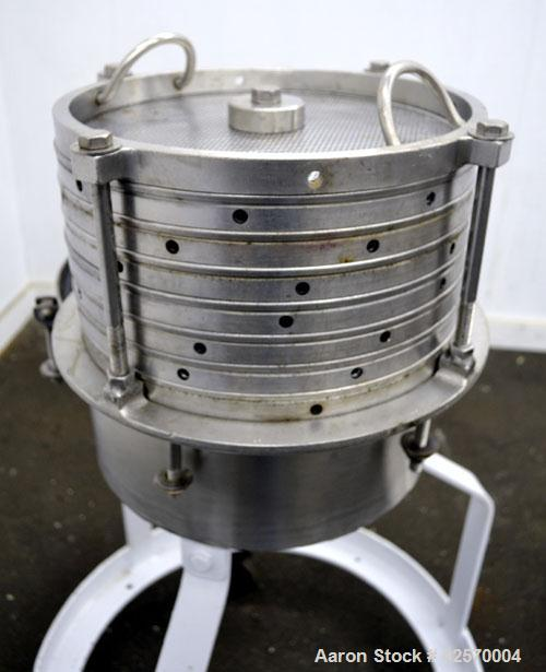 Used- Sparkler Filter Horizontal Plate Filter, Model 14-7, 304 Stainless Steel. 6.23 Square feet filter area, 0.229 cubic fe...