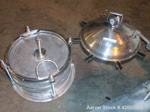 Used- Sparkler Horizontal Plate Filter, model 14-D-4, 316 stainless steel. Approximately 3.52 square feet filter area, .445 ...