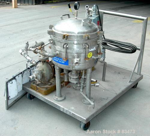 USED: Sparkler horizontal plate filter, model 14-S-7, 316 stainless steel. 5.6 sq ft filter area, .38 cu ft cake capacity, 4...