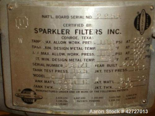 Used- Sparkler Filter, Model 14D4, Hastelloy C. 3.52 Square feet surface area, .445 cubic feet cake capacity, rated 100 psi ...
