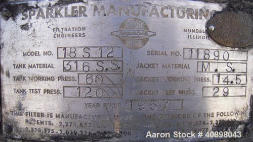 Used- Sparkler Horizontal Plate Filter, Model 18-D-12, 316 Stainless Steel. Approximately 19.32 square feet filter area, 2.3...