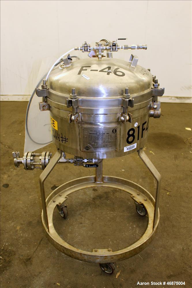 Used- Sparkler Filter Pressure Leaf Filter, Model 18D4, 316L Stainless Steel, Vertical. 6.44 Square feet filter area, 0.776 ...
