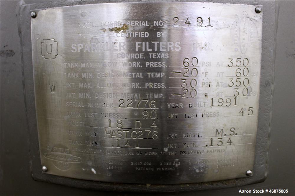 Used- Sparkler Filter Pressure Leaf Filter, Model 18D4, Hastelloy C276, Vertical. 6.44 Square feet filter area, 0.776 cubic ...