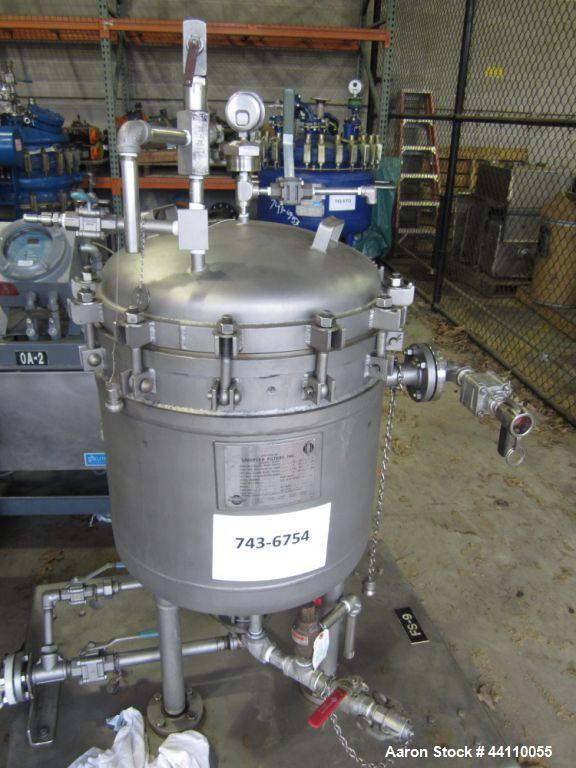 Used- Sparkler Filter, Hastelloy C -22, 304SS jacket, Model 18 D 6, ??? Sq. Ft. Built 2009, S # 23742, NB # 3090, rated 60 @...