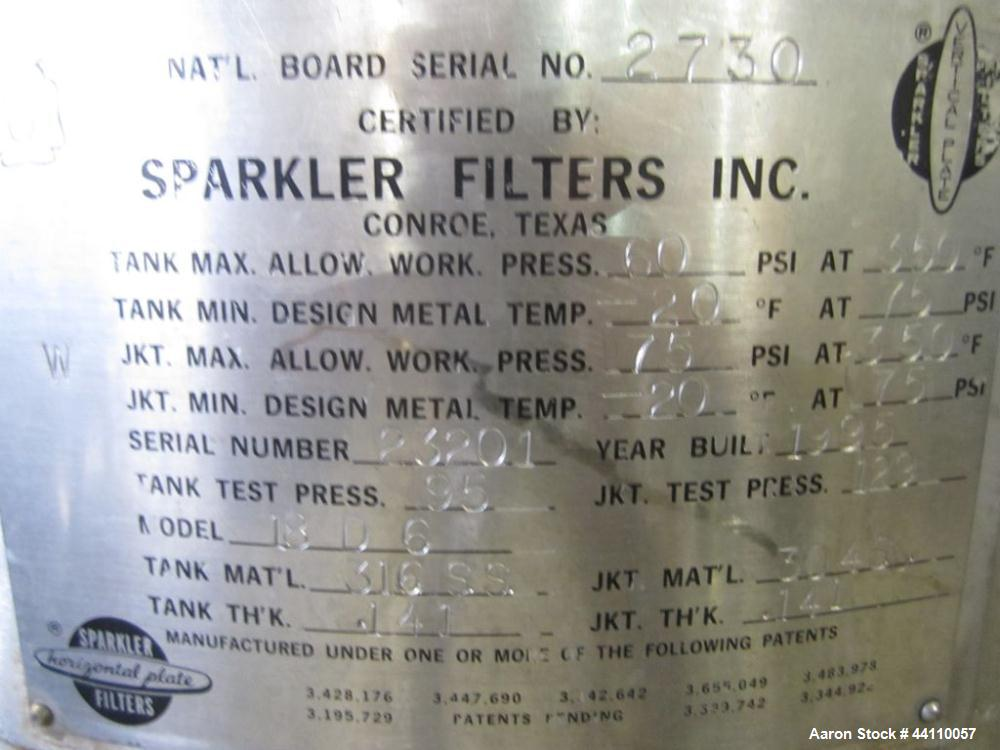 Used- Sparkler Filter, 316 SS, Model 18 D 6, ??? Sq. Ft. Built 1995, S # 23201, NB # 2730, rated 60 @ 350 internal, 75 @ 350...