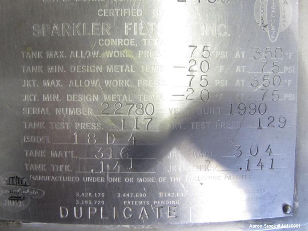 Used- Sparkler Filter, 316/304 SS, Model 18 D 4, ??? Sq. Ft. Built 1990, S # 22780, NB # 2450, rated 75 @ 350 internal, 75 @...