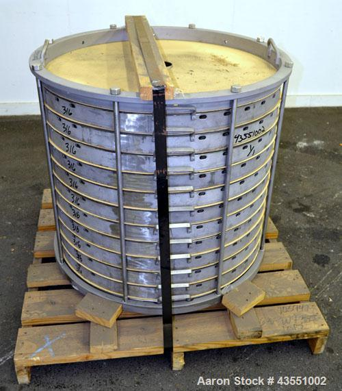 Used- Sparkler Horizontal Plate Filter Stack Only, Model 33-D-12, 316 Stainless Steel. Approximate 67.32 square feet filter ...