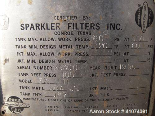 Used- Stainless Steel Sparkler Filter Horizontal Plate Filter, Model 33-S-11