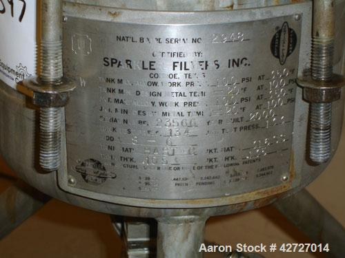 Used- Sparkler Filter, Model 8-6, Hastelloy C. 2 Square feet surface area, .153 cubic feet cake capacity, rated 100 psi at 3...