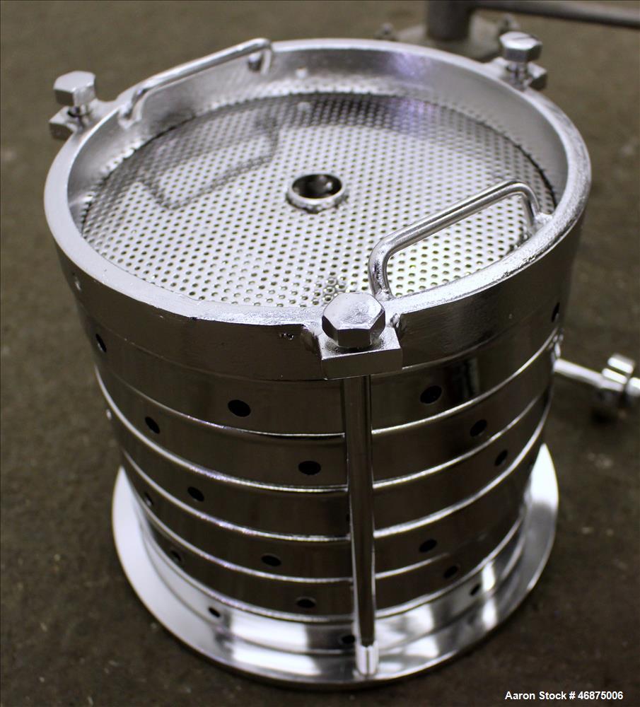 Used- Sparkler Filter Pressure Leaf Filter, Model 8-6, 316 Stainless Steel, Vertical. 2 Square feet filter area, 0.153 cubic...