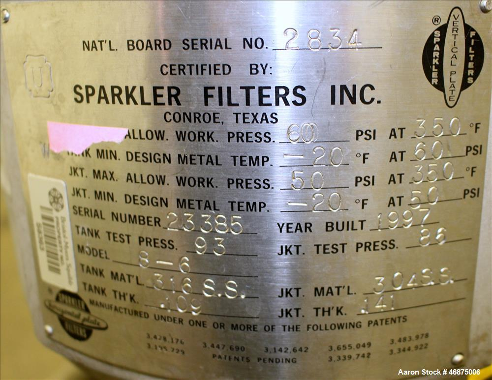 Used- Sparkler Filter Pressure Leaf Filter, Model 8-6, 316 Stainless Steel, Vertical. 2 Square feet filter area, 0.153 cubic...