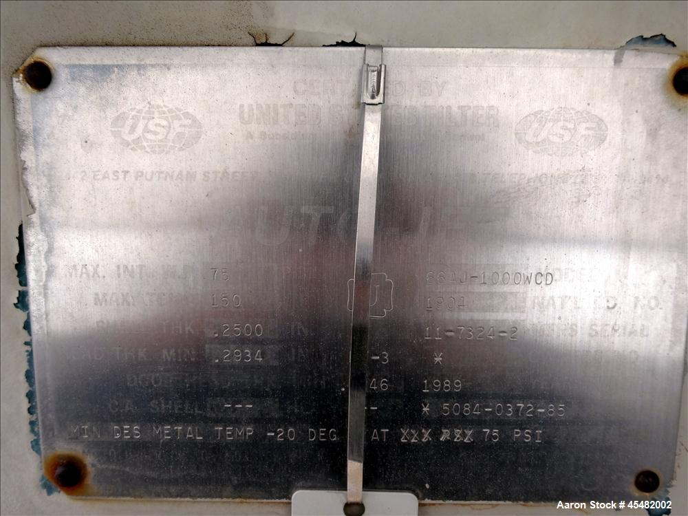 Used- Stainless Steel United States Pressure Leaf Filter, Model 66AJ-1000WCD