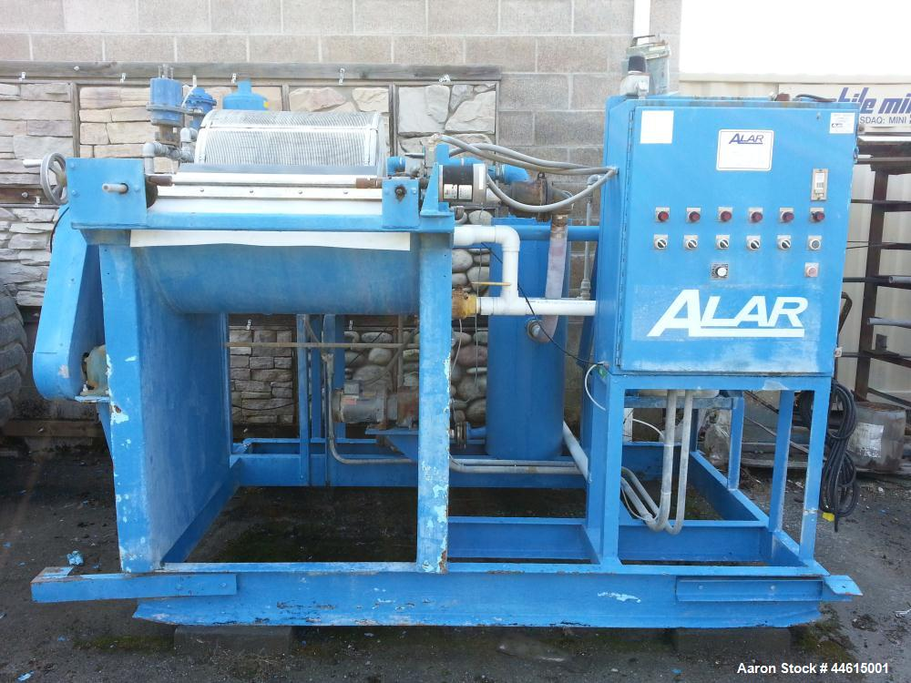 Used-Alar Rotary Vacuum Filter, Model 220 Auto-Vac.  2' Diameter x 2' wide drum, 12.6 square foot filter area, stainless ste...