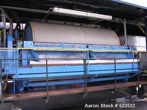 "USED: Alar rotary vacuum filter, model 6120. 6' diameter x 12' long, 226 square feet. OAD: 9'9"" x 19'3"" x 11' high. Mobile u..."