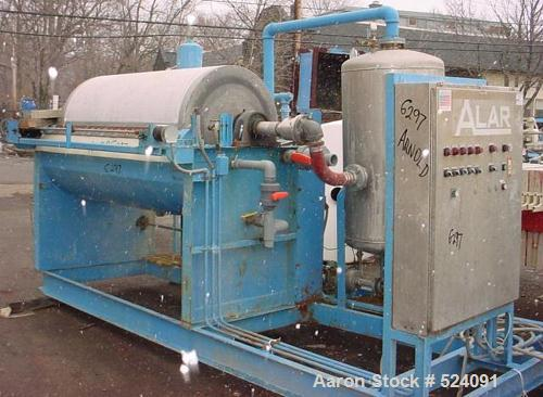USED: Alar Engineering Corp rotary drum pre-coat, auto-vac, vacuumfilter. With 3' diameter x 6' face drum rated at 56.5 squa...