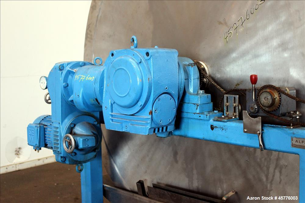 Used- Alfa Laval Rotary Vacuum Filter, Type Lundinfilter TF-8M2. 81.76 Square feet (8m2) filtration area. 304 Stainless stee...