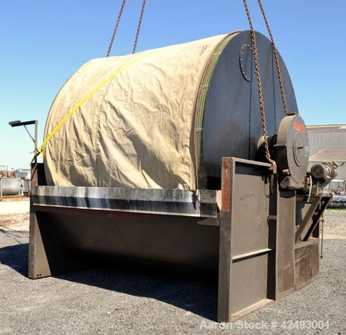 Used- Eimco Sanitary Eimcobelt Rotary Vacuum Filter, 376 Square Feet Filter Area, Carbon Steel. Drum 144'' diameter x 120'' ...