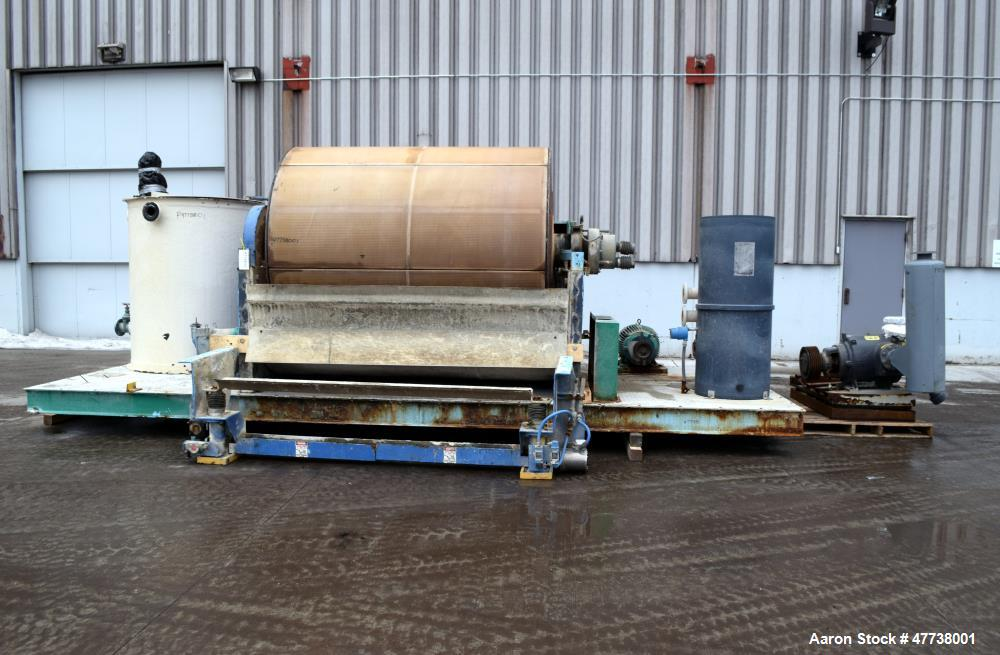 Used- Eimco Pre-Coat Rotary Vacuum Filter, Approximate 150 Square Feet Filter Area, Carbon Steel. Drum 6 diameter x approxim...