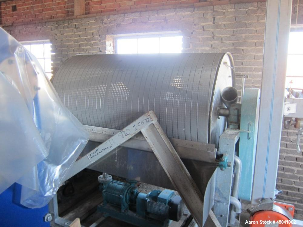 "Used-Larsson Rotary Vacuum Filter, stainless steel construction.  Equipped with 50 hz motor.  Drum width 70.8"" (1800 mm), di..."