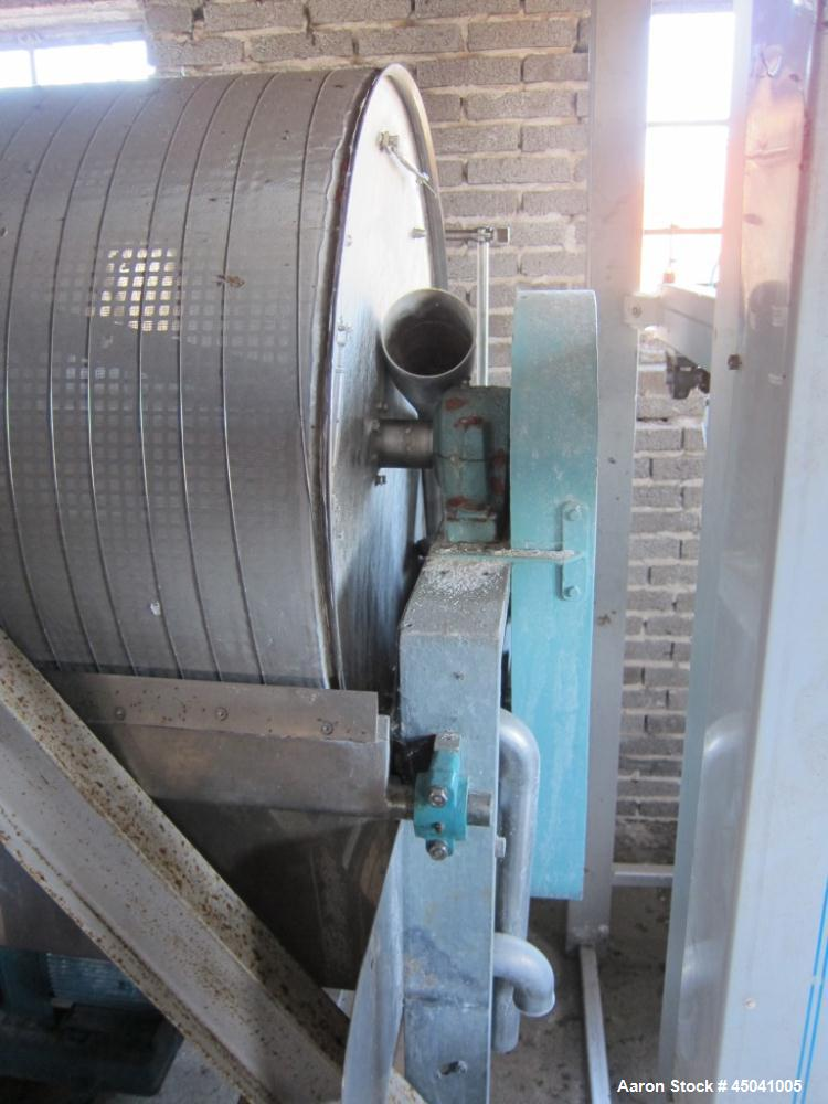 """Used-Larsson Rotary Vacuum Filter, stainless steel construction.  Equipped with 50 hz motor.  Drum width 70.8"""" (1800 mm), di..."""